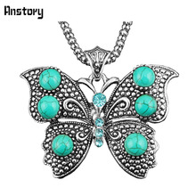 Vintage Jewelry Victoria Antique Silver Plated Butterfly  Pendant Crystal Turquoise Necklace TN268(China (Mainland))