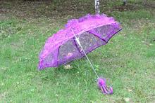 1 pc lot New Elegant Handmade 8 Color Bridal Umbrella Non automatic Lace Parasol Umbrella