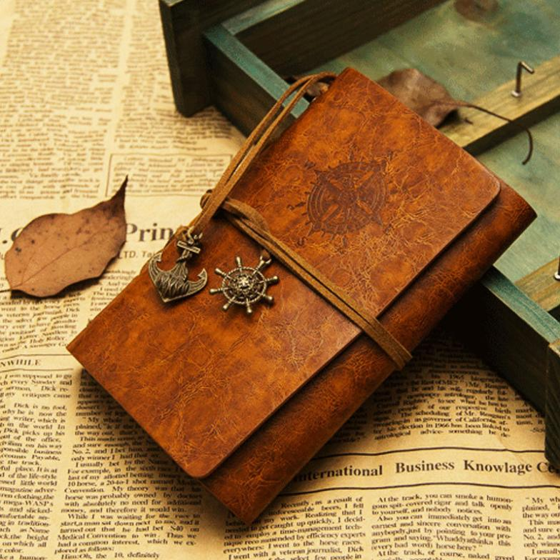Wholesale free shipping 13*19cm or 11*16cm vintage leaf faux Leather pirate cover travel journal 12 colors notebook(China (Mainland))