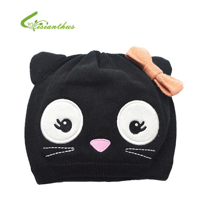 Children Knitted Caps Girls Skullies Baby Beanies Kids Bomber Hats Autumn Winter Cotton Hats Warm Black Cat Hats Drop Shipping(China (Mainland))