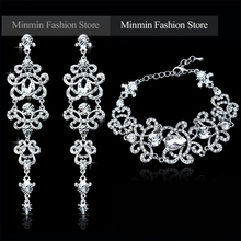 Austrian Crystal Bracelet Earrings Charming Jewelry Sets Bridal Jewelry Amazing Design Jewelry for Women Wedding EH166+SL032(China (Mainland))