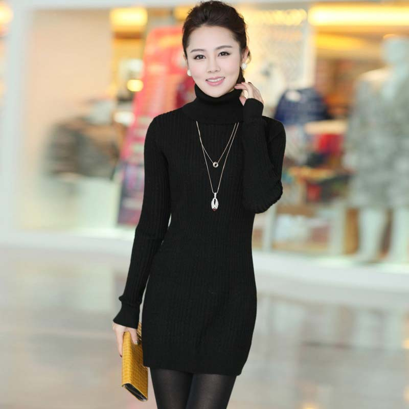 Winter fashion Women Knitted Sweater dress turtleneck Long Sleeve Bottoming Shirt Jumper women sweaters and pullovers Y0128-75D1(China (Mainland))