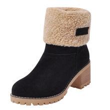 Phụ nữ Bộ Lông Mùa Đông Ấm Ủng Nữ len Nam Boot Giày Ankle Boot Giày Thoải Mái Plus size 35-43 N(China)