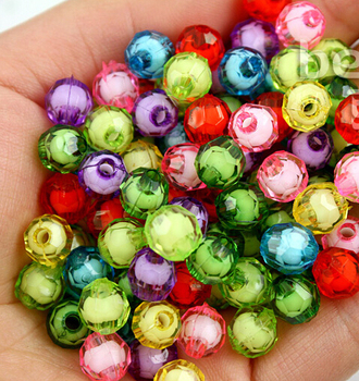 Factory Price 100pcs many colors U-pick Acrylic Faceted Plastic Round Spacer Beads 8mm for Jewelry making PS-BSD099