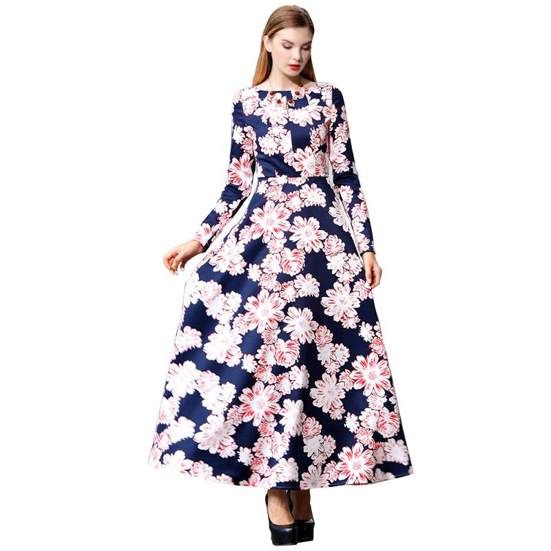Здесь можно купить  Women Floral Print Maxi Dress 2015 Autumn New Europe Style Plus Size Long Sleeve vestido de festa 1398  Одежда и аксессуары