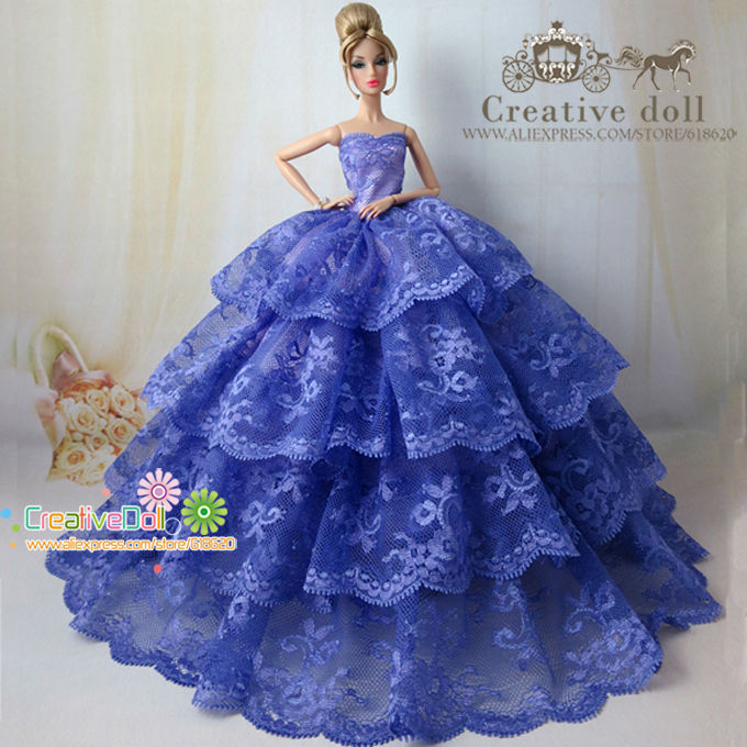 Luxury Bride Wedding Dress With Veil Nobility Elegant Princess Gown Outfit For Barbie Doll Girl Gift Hot Sell(China (Mainland))