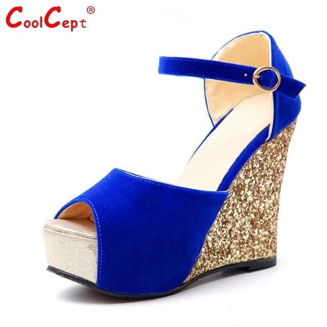 Женщины клин открытым peep toe высокий каблук сандалии сексуальная платформа бренд ...