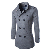 2015 Fashion Brand Winter Mens Jackets And Coats Mens Double Breasted Stylish Pea Coats Men Wool Coat High Quality Trench Coat(China (Mainland))