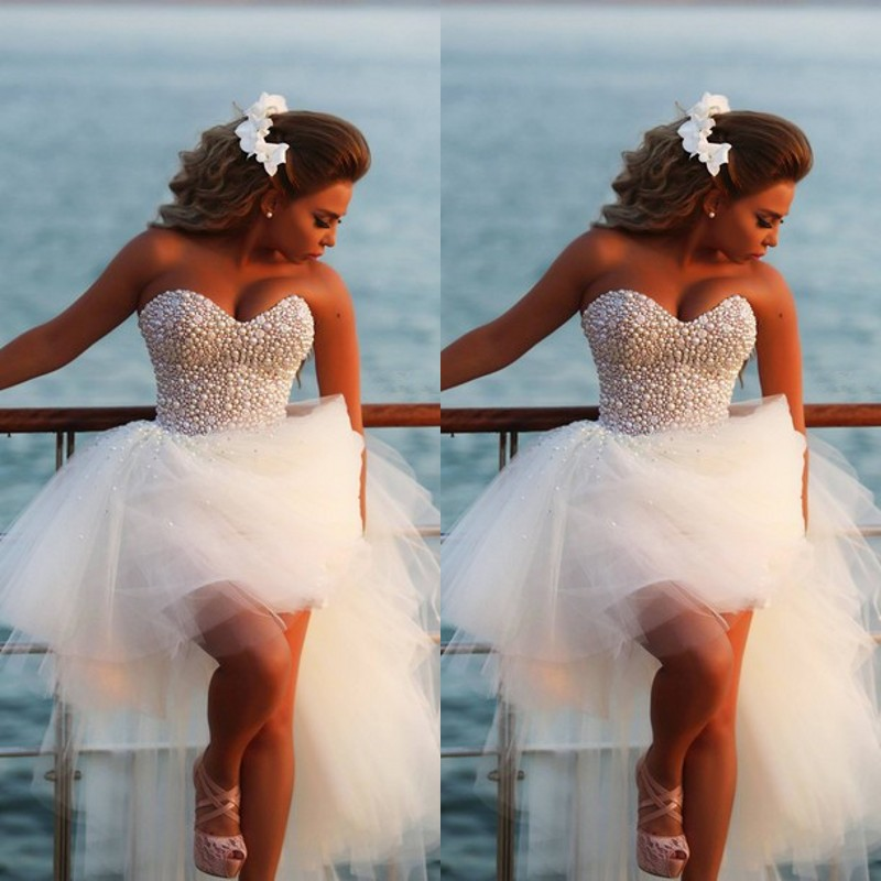 Pearl White Prom Dresses White High Low Prom Dress