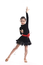 Buy Latin dance clothing girl's dance dress costumes kids latin practice/competition dress Velvet long sleeve clothes wholesale for $29.69 in AliExpress store