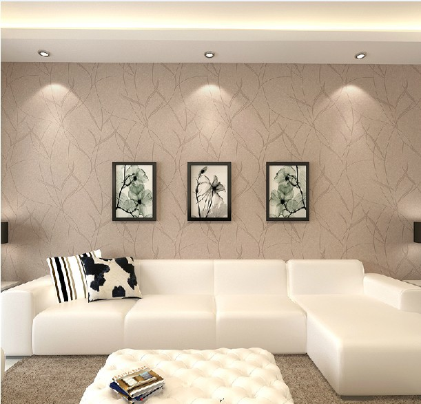 Italy beige woven wallpaper the living room background for Wall papers for rooms
