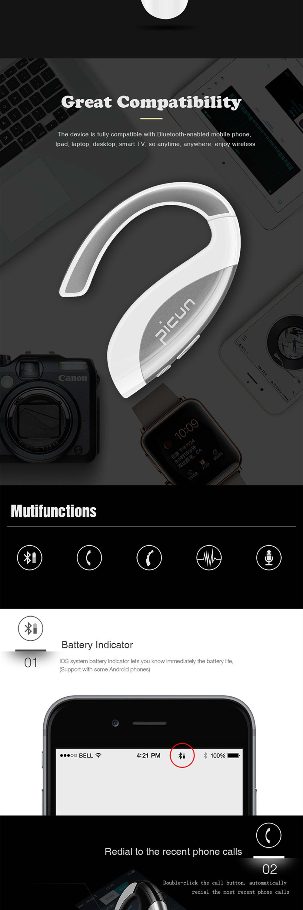 Sound Intone T2 Stereo Headset Bluetooth Earphone Headphone Wireless Handfree earbuds With Mic  for iPhone 6 5S Samsung Android