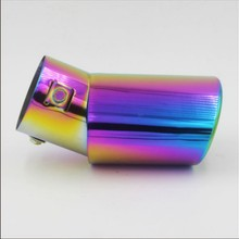 Buy bend purple colorful Painting Universal Exhaust Tailpipe 63mm Muffler Stainless Steel End exhaust pipe protect styling for $12.50 in AliExpress store