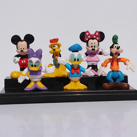 1set(6pcs) 6~8cm MICKEY & Minnie Mouse Donald Duck Cartoon Action Figure Childre's Toy Free shipping(China (Mainland))