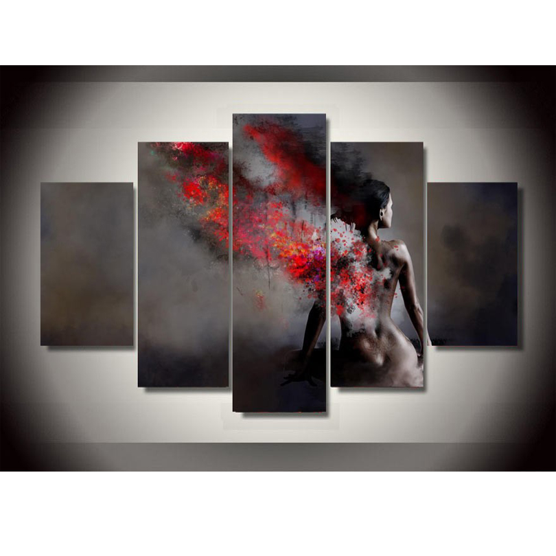 Fashion Canvas Painting Unframed 5 Piece Large HD Body Art For Living Room Wall Picture Decoration Home With Free Shipping(China (Mainland))
