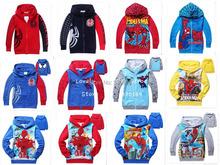 1pc Retail 2014 Spring Autumn Children's Coat boys Spiderman embroidered hoodie jackets Kids cartoon Clothes children sweater(China (Mainland))