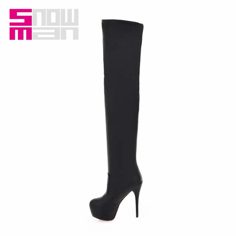 2015 Sexy Slim Long Boots Women Boots Thin High Heels Over the Knee Boots Lady's Platform Add fur Winter Boots
