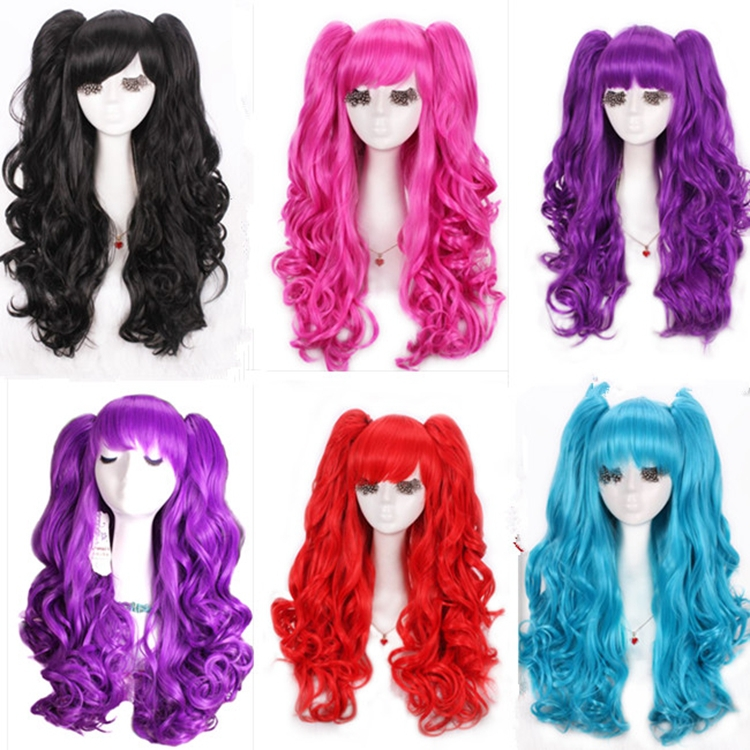Free Shipping perucas 60CM Synthetic Long Curly Lolita Cosplay Wig Ponytails<br><br>Aliexpress