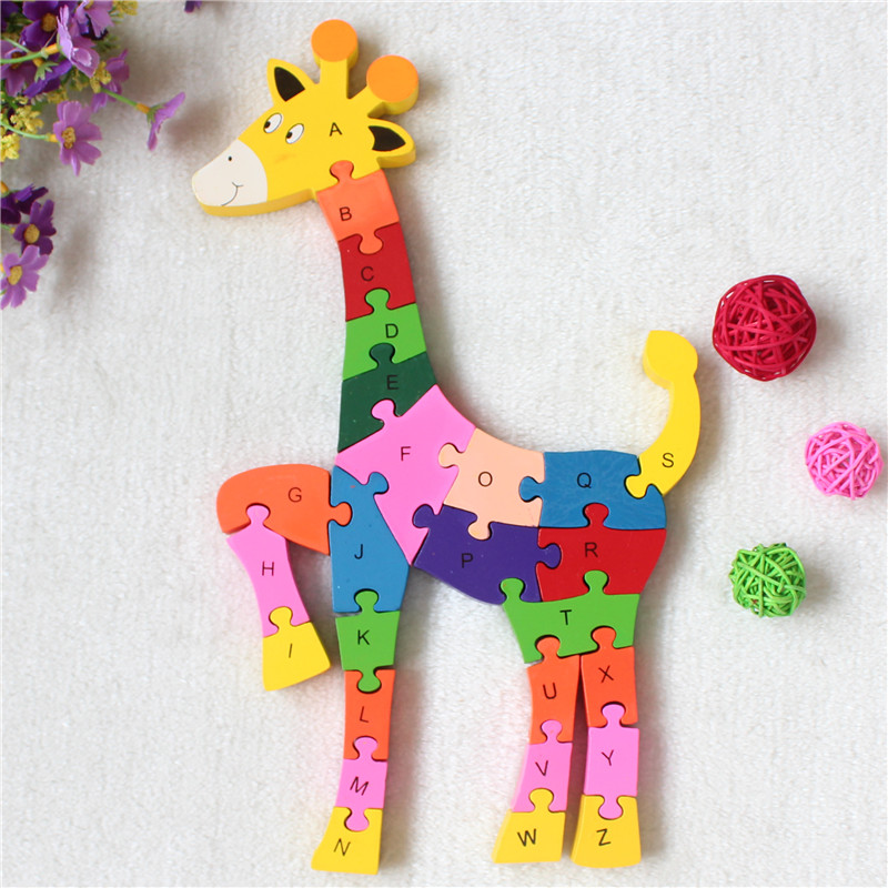 Colorful Wooden 26 Letters and Numbers Giraffe Model Jigsaw Puzzle Educational Toys for Kids(China (Mainland))