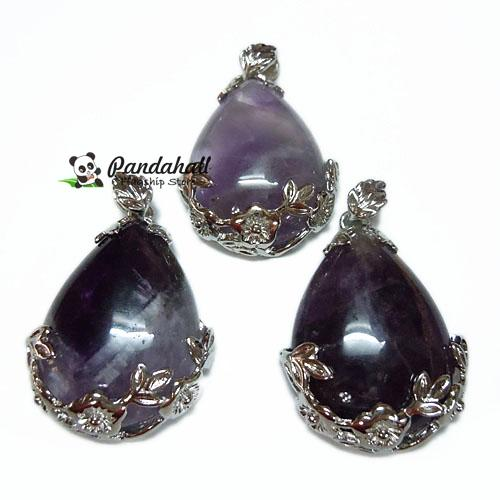 1pcs 43x26x8mm Natural Amethyst Pendants Crystal Stone Quartz Drop Pendant with Silver Findings for DIY jewelry making pandahall(China (Mainland))