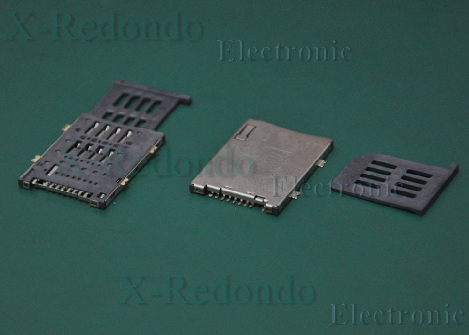 50pcs/lot 8+1pin SIM card slot connectors, size:28*19 mm, Commonly used in phone, tablet, PDA(China (Mainland))