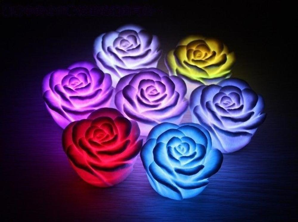 New 7Color Romantic Changing LED Floating Rose Flower Candle Night Light Fast Shipping(China (Mainland))