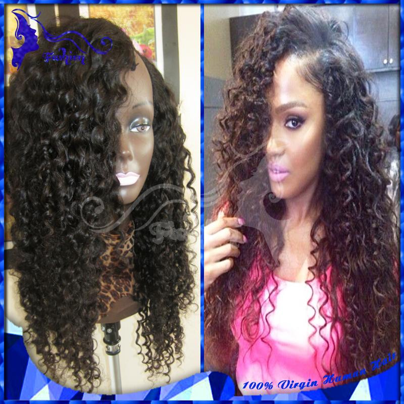 7A Virgin Human Hair Wigs Brazilian Deep Curly U Part Wigs Glueless Curly U Part Human Hair Wigs For Black Women Bleached Knots