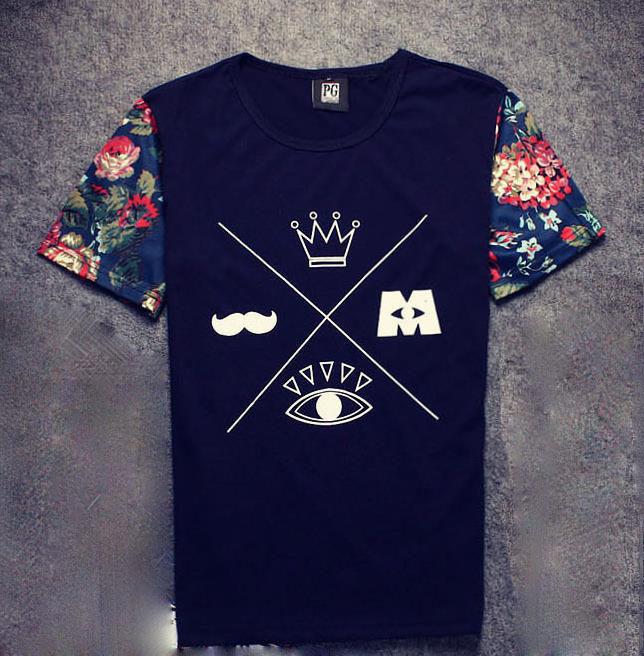 2015 men hip hop fashion men urban clothing swag harajuku summer tops t shirts flora print man tshirts free shipping(China (Mainland))