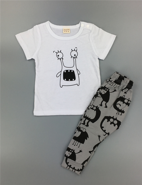 Baby boy/girl clothes cotton cartoon short-sleeved t-shirt+pants Only