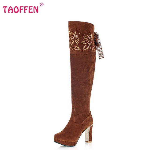 Женщины высокий каблук над коленом сапоги снег загрузки теплые зимние дамы botas ...
