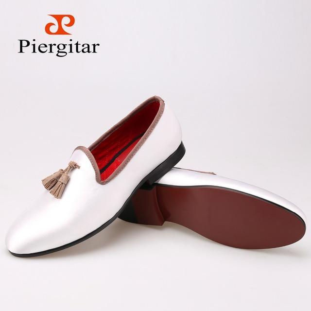 Новый белый блестками ткань обуви с кисточкой мода ручной мужчины мокасины свадебная ...