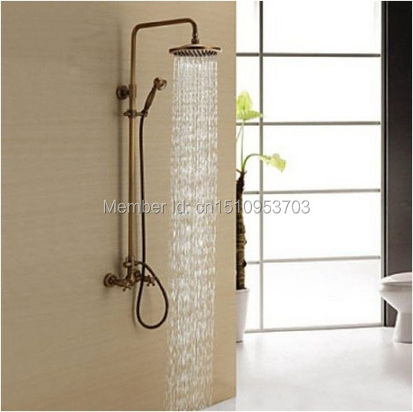 Newly US Free Shipping Wholesale And Retail Antique Brass Shower Mixer Faucet Set with 8 Inch Shower Head + Hand Shower Spray