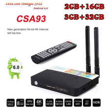 Buy Hot 3GB 32GB CSA93 Amlogic S912 Octa Core Cortex-A53 2GB 16GB Android 6.0 smart TV Box BT4.0 WiFi 4K Smart Meida Player mini pc for $51.08 in AliExpress store