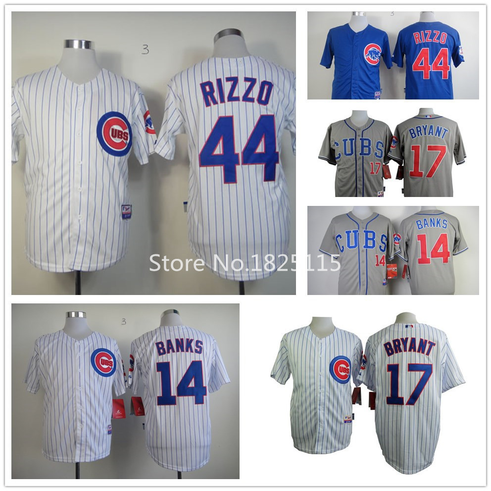 Chicago Cubs Jersey Throwback #44 Anthony Rizzo Jersey Authentic Baseball #14 Ernie Banks Jersey #17 Kris Bryant Jerseys(China (Mainland))