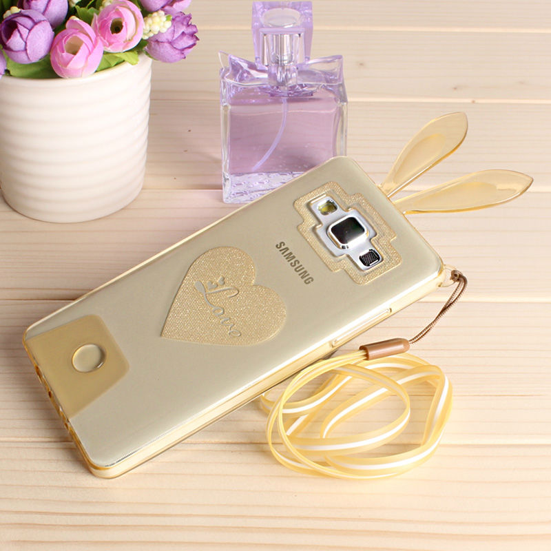 Saiboro Ultra thin Lovely Rabbit Transparent Clear Case For Samsung Galaxy A5 With Chain SBR 0244(China (Mainland))