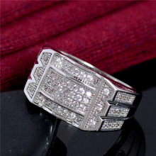 925 Sterling Silver Jewelry CZ Diamond Ring for Men Vintage Crystal Anel Masculino Engagement Wedding Rings 2016 New Arrival(China (Mainland))