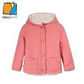 YKYY YAKUYIYI Solid Pink Girls Outwear Faux Sheepskin Lined Baby Girls Outerwear Coat Soft Hooded Children