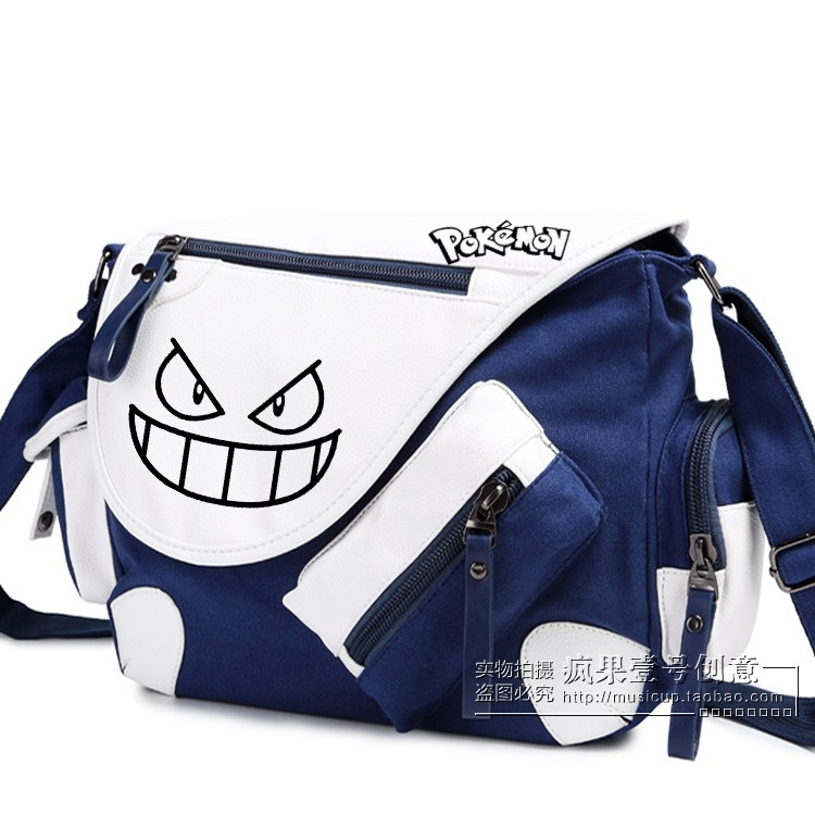New Canvas Pokemon Shoulder Bag Boy Girl Pocket Monster Gengar School Bags for Teenagers Messenger Bag Bolsas Femininas