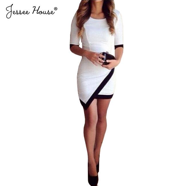 2015 Women Vestidos Casual Bandage Bodycon Dress Ladies Half Sleeve Asymmetric Patchwork Elegant Short Mini Summer Dress 0483(China (Mainland))