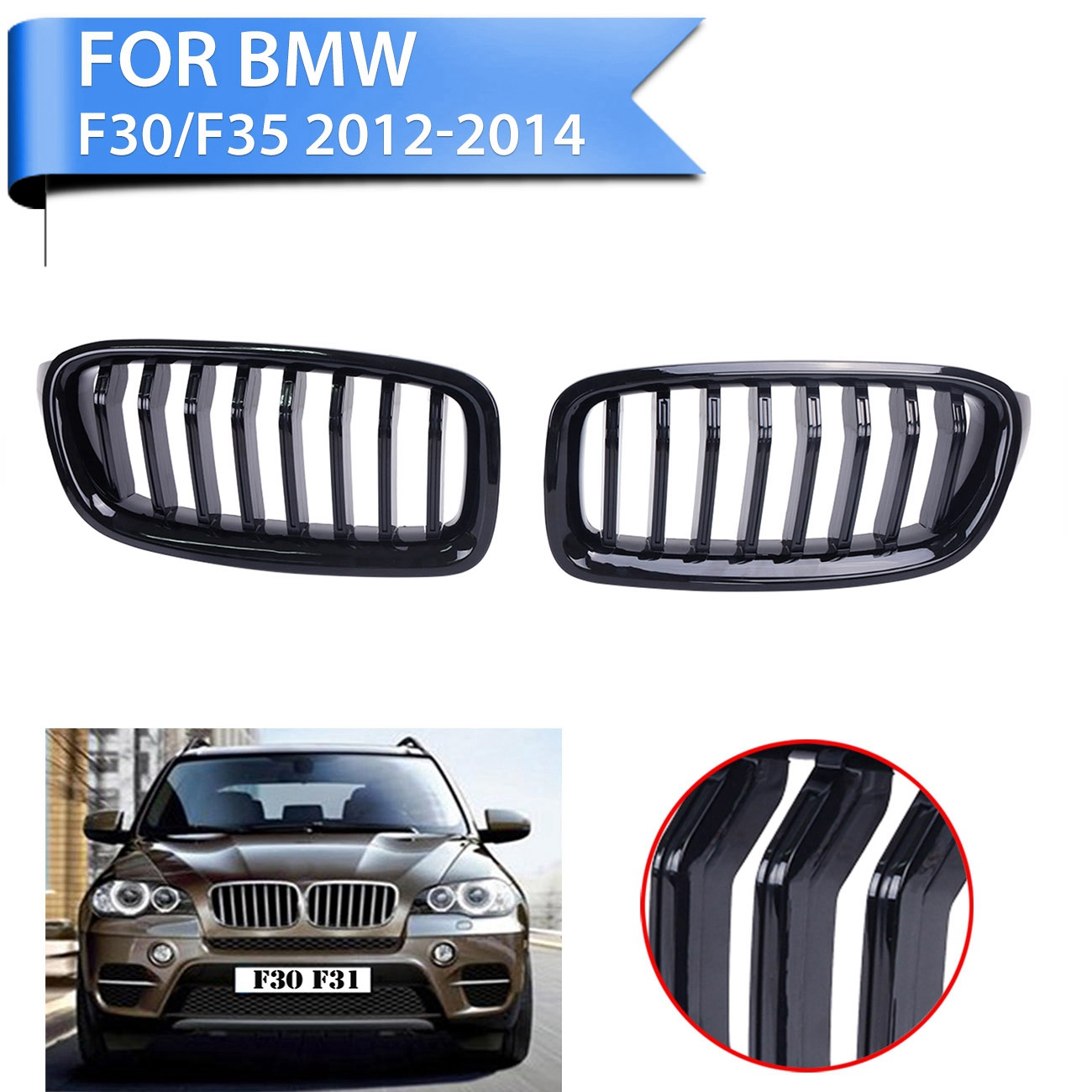 Фотография 2Pcs Front Grille Kidney Grills For For BMW F30 F31 320i 328i 335i 4Door 2010 2011 2012 2013 2014 Glossy Black WISENGEAR P188-T