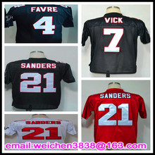 Free Shipping 1990 Retro Throwback #7 Michael Vick #21 Deion Sanders Jersey #4 Brett Favre Jerseys Black White Red(China (Mainland))