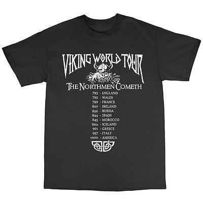 Vikings World Tour T-Shirt 100% Cotton Ragnar Lothbrook Heavy Metal Valhalla(China (Mainland))