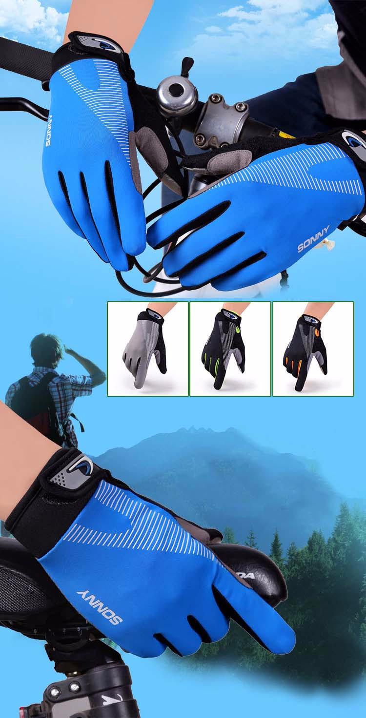 9Glv812 Men\`s sports outdoor cycling long finger gloves antiskid touch-screen thin motorcycle gloves