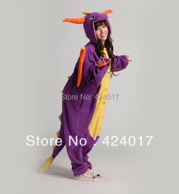 2015 Fashion Adult Pajamas Cosplay Costume Japan Anime Purple Spyro Dragon Cute Flannel Animal Onesie Pyjama