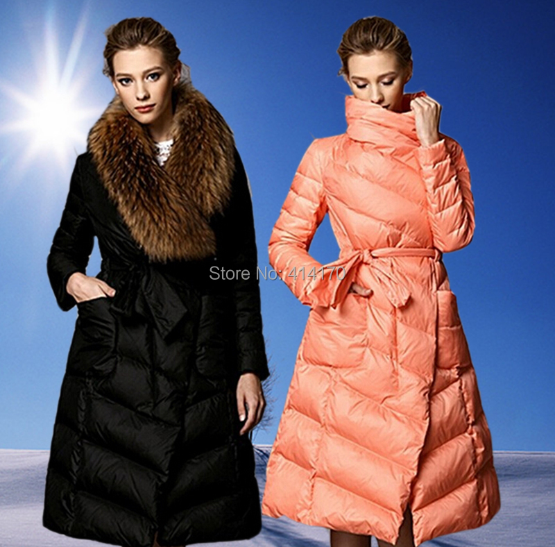 Clearance New Fashion Womens Long Coat 100% Natural Raccoon Fur Collar Black Pink Thick Jackets Real - Andy Xu store