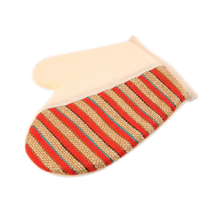 2pcs New Stripe Shower Scrubber Back Scrub Exfoliating Body Massage Sponge Bath Gloves