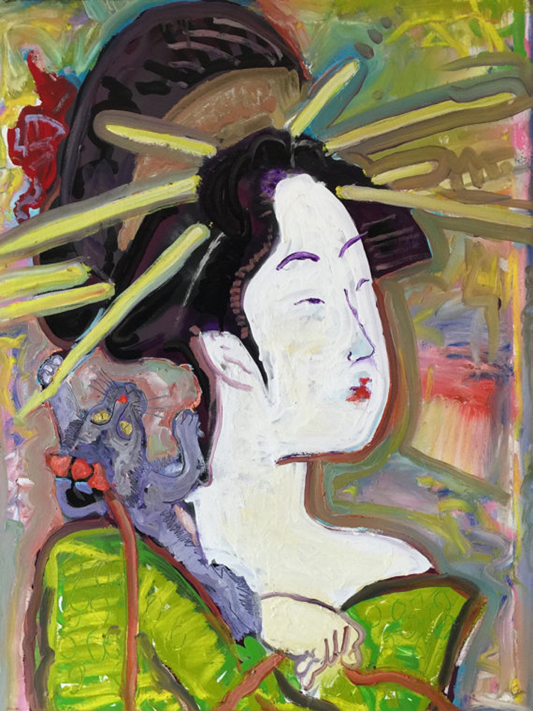 Abstract Woman Portrait Oil Painting On Canvas Japanese Oil Painting Woman Figure Oil Painting For Wall Artwork(China (Mainland))