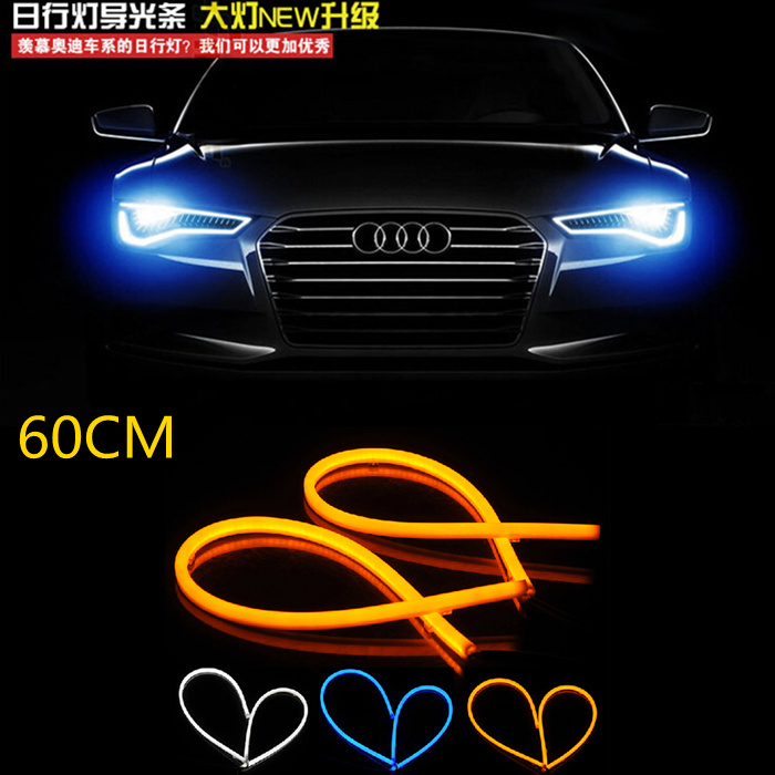 2x blue White Red yellow Flexible Tube Style Headlight Headlamp Strip Angel Eye DRL Decorative Light for LADA OPEL KIA MAZDA VW(China (Mainland))