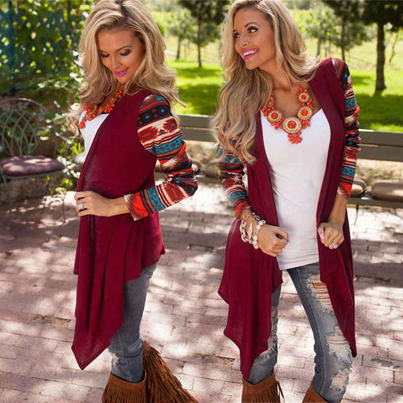 2015 New Aztec Long Sleeve Women Cardigan Female Asymmetrical Knitted Sweater Casual Cardigans Sweaters Air conditioning Shirts(China (Mainland))