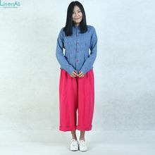 LinenAll women's clothing,slim blue shirt female,100% pure linen,handmade-buttom, long Sleeve shirt,original design shirts BMF